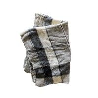Wool Plaid Black Grey Cream Scarf