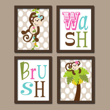 Monkey Girl Colorful Set of 4 Whimsical Wash Brush Polka Dot WALL ART Decor Picture Child Bathroom Shower Curtain Match