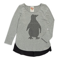 Kiddo Girls 7-16 Chevron Penguin Top