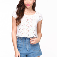 BOXY EYELET CROP TOP