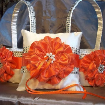 2 Ivory & Persimmon Flower Girl Baskets and matching Ring Bearer Pillow with Rhinestone Mesh handle and Trim