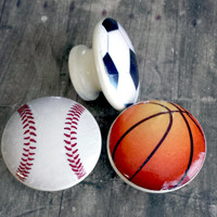 Handmade Sports Birch Wood Knobs, Set of 3 Sports Balls Drawer Pulls, Basketball, Soccer Ball, Baseball Knobs, Boys Room, Nursery Decor
