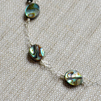 NEW Abalone Anklet, Sterling Silver Chain, Genuine Paua Shell, Dainty Summer Jewelry, Beach Ankle Bracelet, Free Shipping