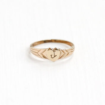 Antique Art Deco Monogrammed J 10k Yellow Gold Heart Ring - Vintage Size 1/3 Baby Midi Etched Initial Signet Cursive Letter Fine Jewelry
