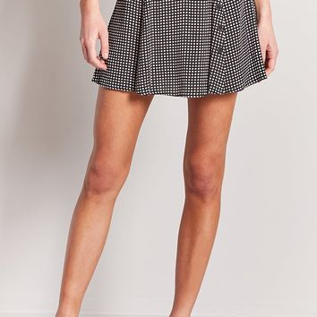 Grid Print Mini Skirt
