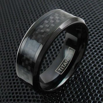 Men's Titanium Black Carbon Wedding Ring