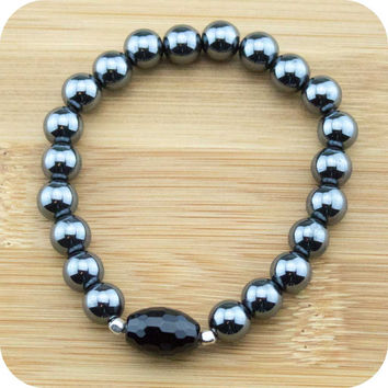 Hematite Yoga Jewelry Bracelet with Faceted Black Onyx