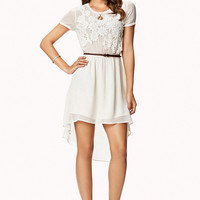 Crepe Woven Crochet Dress w/Belt