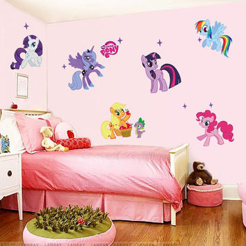 my little pony cartoon wall stickers for kids rooms home decoration 1425. diy pvc animal tv decal girls room 3d mural art 3.0