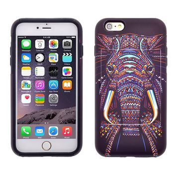 Apple iPhone 6/6s Plus Dual Layer Credit Card Hybrid Case With Design, ID Holder with Kickstand - Tribal Elephant