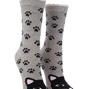 Cat Graphic Crew Socks