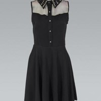 Black Chiffon Sleeveless Button Up Dress with Stud Detail