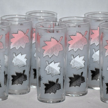 Vintage Barware-Libbey Glassware-Pink-Frosted-Leaves