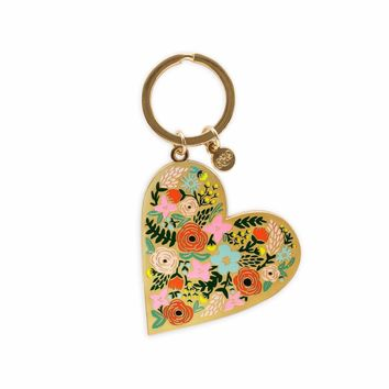 Floral Heart Enamel Keychain by RIFLE PAPER Co.   Imported