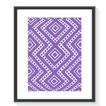 Purple Tribal Print Art - Printable Wall Art - Digital Wall Print - Home Decor