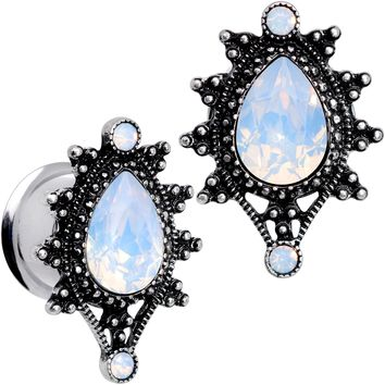"9/16"" White Faux Opal Filigree Framed Double Flare Plug Set"