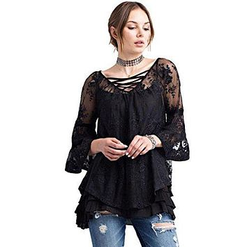 Easel Women's 3/4 Bell Sleeve Sleeve Bohemian Lace Tunic with Criss Cross Strap Front and Tie Back