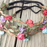 Flower Crown headband, (4) GRAB BAG DEAL, Boho flower headband, White flower rose- festival flower hair band, wedding headband