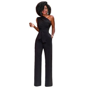 jumpsuits for Womenelegant ol jumpsuit one shoulder sleeveless long overal rompers with sashes plus size