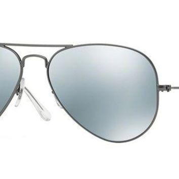 CREYDC0 Ray-Ban RB3025 Aviator Large Metal Mirrored Unisex Sunglasses (Matte Gunmetal Frame/Grey Mirror Silver Lens 029/30, 58)