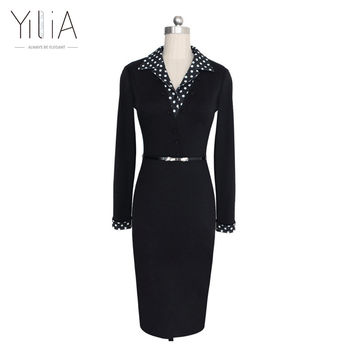 Vintage Elegant Turn-own V-collar Work Bodycon Patchwork Sheath Office Dress Dot Polka Long Sleeve Fake Two Pieces Belt Buttons