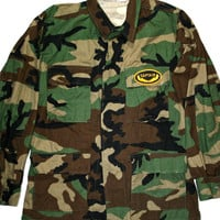 Vintage Camo Military Style Shirt with Captain Patch