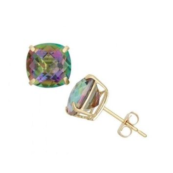 18K Yellow Gold Plated - MYSTIC Rainbow Topaz Stud Earrings 4 Flower Prong Lady