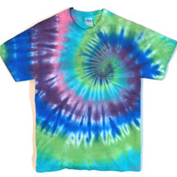 Tie Dye Shirt - Blue and Green - 100% Cotton Shirt - Men's and Women's Hippie Fashion
