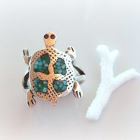 Turquoise Turtle Ring, Sterling Silver Turtle Ring with Green Blue Turquoise, Vintage Green Turquoise Ring, Primitive Jewelry - Size 6 1/2
