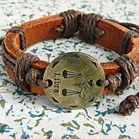 12 animal zodiac libra Adjustable bracelet  bracelet Cowhide Leather hipster jewelry leather bracelet wooden  bead and hollowed tube