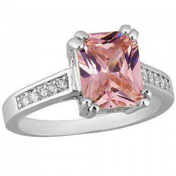 White or Black 10KT Gold Filled Emerald Cut Pink Zircon Ring