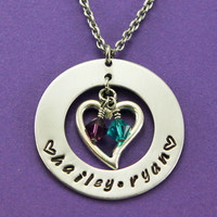 Personalized Mommy Necklace -  Handstamped  Washer Heart Charm Necklace