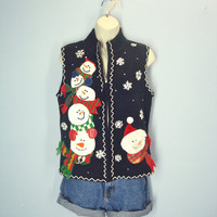 Vintage 80s Ugly Christmas Sweater Vest / Snowman Snowflake