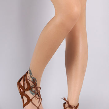Bamboo Suede Caged Lace Up Flat Sandal