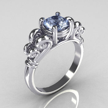 Modern Antique 10K White Gold 1.0 Carat Round Blue Topaz Designer Solitaire Ring R141-10WGBT