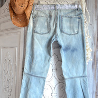SALE Women's jeans, Upcycled Free People Jeans, Bohemian lace, Street style, Boho clothes. Festival clothing,True Rebel Clothing 27