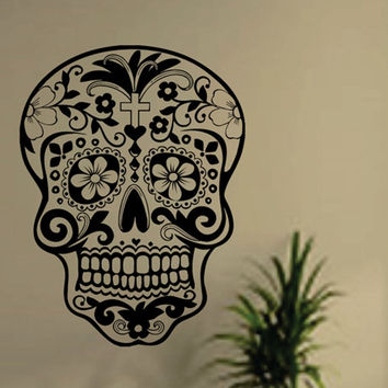 Skull wall sticker Skull punk rock creative personality removable vinyl wall art stickers ,sugar skull decals free shipping H007
