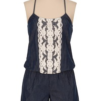 Chambray Romper with Lace Trim