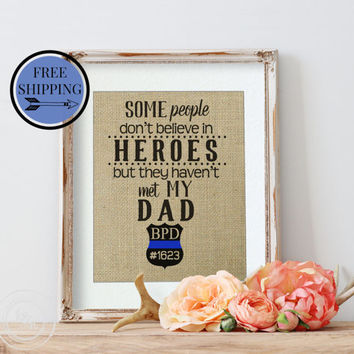 Personalized Policeman Gift | Police Father | Father's Day Gift | Fathers Who Protect | Dad is my Hero | Gifts for Dad | Thin Blue Line |
