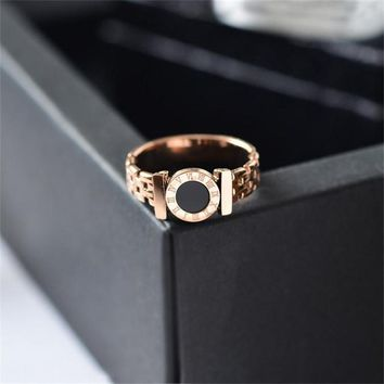 Martick Hot Rings Woman Rings Stainless Steel Black Roman Numerals Rings Rose Gold Color Hollow Out Rings Fashion Jewelry R101