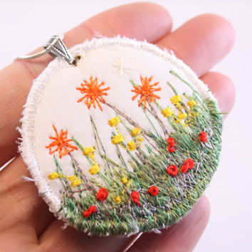 Spring Garden Embroidered pendant fiber embroidered daisy necklace garden lover silk embroidered tulips pastel cream coral
