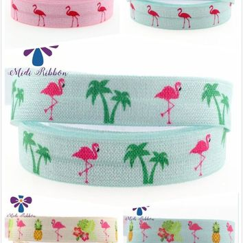 """ROLL / 5/8"""" Summer Flamingo FOE Printed Fold Over Elastic 50 yards / 5 color choices"""