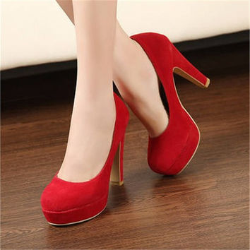 Free shipping  2016 autumn Women's shoes Pumps Single shoes  princess shoes round head thick with waterproof suede high heels
