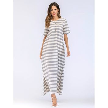 Split Side Hidden Pocket Stripe Dress