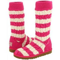 CHEN1ER Pink and White Striped Ugg Boots (Size 9)