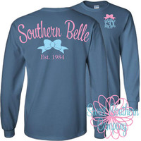 Personalized Long Sleeve shirt with Small Elegant Front Monogram - Southern Belle