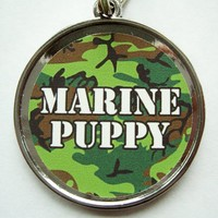 Marine Puppy Green Pet ID Tag