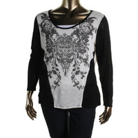 Style & Co. Womens Plus Knit Embellished Pullover Sweater