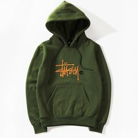 Stussy classic casual loose high quality embroidery hooded sweater
