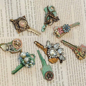 Upcycled key pendant steampunk key vintage key watch gears dragon Swarovski crystals Victorian filigree patina upcycled jewelry